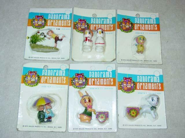 (6) VINTAGE Panorama Ornaments  Easter Spring  Miniature Figures Decorating 1973