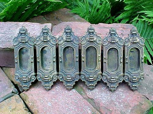 6 ANTIQUE VICTORIAN CAST BRASS WINDOW SASH LIFTS PULLS HARDWARE ARCHITECTURAL