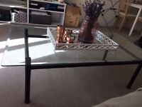 Gorgeous Glass Coffee Table with Matt Black Stand