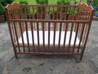 Solid Pine Drop Sided Babies Cot & Mattress