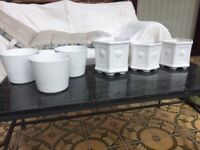 16 Used Various Sized and Shaped White Pots