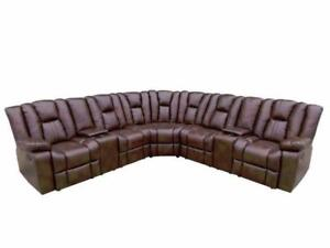 3 PC LEATHER AIR SECTIONAL W/ 4 RECLINERS $ 1798