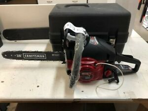 """USED 18"""" SEARS CRAFTSMAN GAS CHAINSAW WITH CASE"""