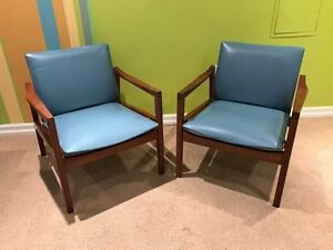 SALE Mid century walnut & leather lounge chairs by Walter Nugent
