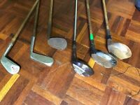 6 Antique Golf clubs (+ 1 broken one) includes Power Guaged.