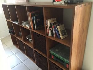 Wooden Bookcase or Room Divider with 5 baskets Northbridge Willoughby Area Preview