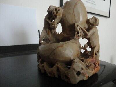 Chinese Vintage  Carved Soapstone Monkey Bruswasher