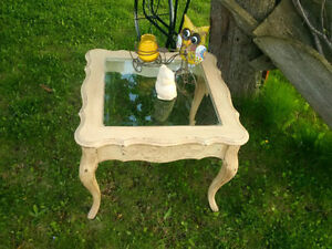 French Country glass top end table