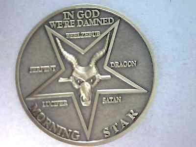 "Lucifer Morning Star 3D Prop Coin,1 1/2"" - Solid Brass, Satans Evil Ram Variety"