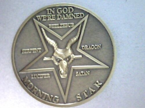 Lucifer Morning Star 3D Coin, Quality Heavy Solid Brass, Satans Evil Ram