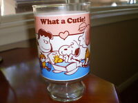 """Vintage Peanuts/Snoopy... """"What a cutie"""" 1966 Glass 6 3/4"""" tall"""