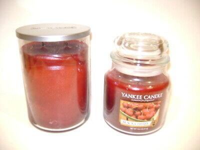 2 pc Yankee Candle BLACK CHERRY 2-wick Tumbler 22 oz & 14.5 oz Free Shipping