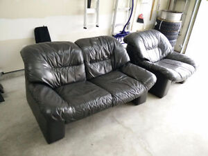 Charcoal Leather Sofa Love Seat and Chair (Adjustable Headrests)