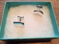 Tiffany & CO. Elsa Peretti bean cufflinks, sterling silver