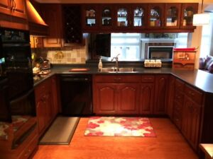 Solid Wood Kitchen Cabinets - Cherry Finish