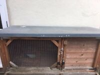 wooden outdoor rabbit hutch