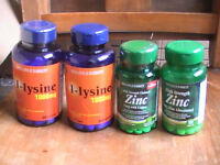 Lysine and zinc tablets (2 bottles of each)