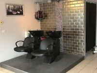 SALON BACK WASH AND CHAIR UNITS & 4 CHAIRS
