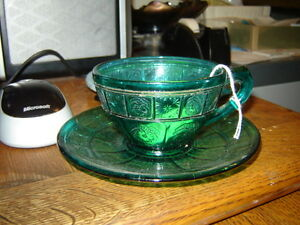 Real depression glass cup and saucer AntiqueLee