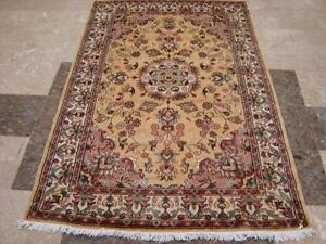 WOW MEDALLION FLORAL ORIENTAL HAND KNOTTED RUG WOOL 6x4 FB-2846