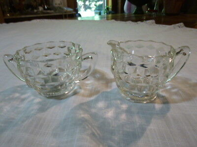 Vintage Jeannette Glass Cubist Clear Depression Glass Creamer and Sugar Bowl