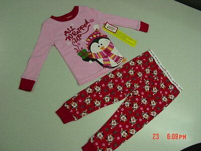 NWT Toddler Girls 2 piece Pajamas Christmas Holiday Glitter Penguins Red Pink (Holiday Toddler Pajamas)