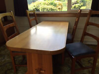 Solid Wood Refectory Style Dining Table with Four Chairs and Seating Bench