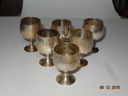 VINTAGE SET OF 6 MINI EPNS Made in India ,SILVER PLATED GOBLETS.