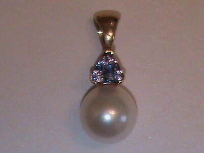 14kt Gold  Genuine Tanzanite & Fine 8mm Akoya Pearl Pendant Sweet !! (116)  Akoya Pearl Pendant