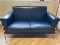 Small Black leather double sofa and armchair - good condition