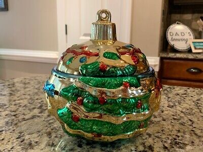 Vintage Style-Eyes Metallic Christmas Tree Ornament Treat Cookie Jar Collectible