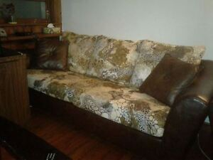 REDUCED PRICE BROWN PRINTED LEATHER COUCHES 3PCS