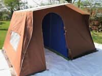 Vintage 4 Berth Canvas Frame Tent. Never Used