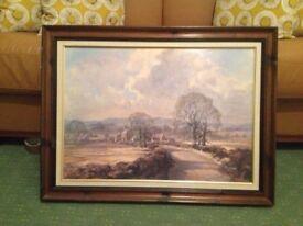 """Road to the Village"" varnished, framed picture"