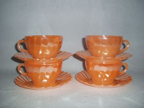 4 Peach Lustre Iridescent Shell Termocrisa Mexico Cups & Saucers