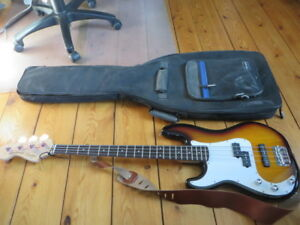 Squier by Fender Precision bass. Left hand.