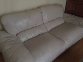 2 double sofas cream leather
