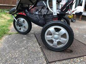 Stroller Pram Buggy Babyway Jogger XCS 3 Wheeled Pushchair Carrycot All Terrain + baby car seat