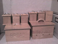 Wooden Storage Boxes & 6 Storage Containers