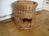 Two tier wicker cat/small dog basket with cushions
