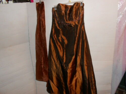 Plus sz 18/20 Copper Brown Shimmering Strapless Prom ,Formal Dress~Beads, Sequin