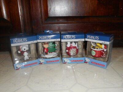 4 Hallmark Peanuts Christmas Ornaments Snoopy Charlie Brown Woodstock Lot NEW ()