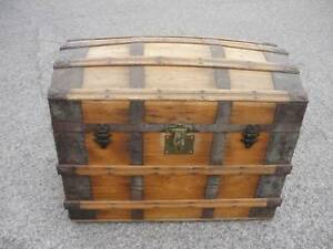 antique dome top wooden travelling trunk Blakeview Playford Area Preview