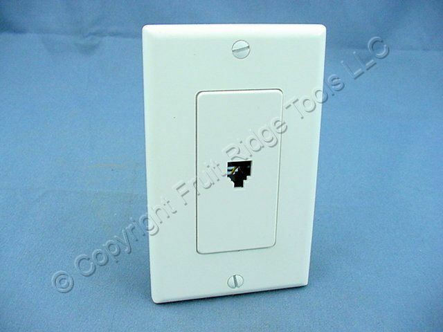 Leviton White 1Gang Decora Telephone Jack Wallplate Type 625 Phone Cover 40649-W