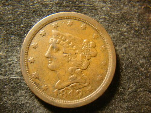 1849 VF Sharp Braided Hair Half Cent