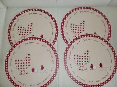 4 Tischsets Kunststoff rund Henne mit Küken beige weinrot kariert 35 cm