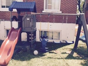 Swing set with slide club house and sand box