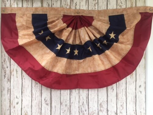 American Flag Bunting ~ Embroidered Tea Stained Fan ~4 Ft Wide USA United States