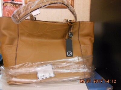 Jim Shore,Brand New,JS Lena Purse/Tote Embossed Leather/Brown,Last One