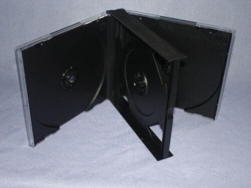 10 24MM MULTI 4 QUAD CD JEWEL CASES W/BLACK TRAY PSC71 USA FREE 2 DAY SHIP